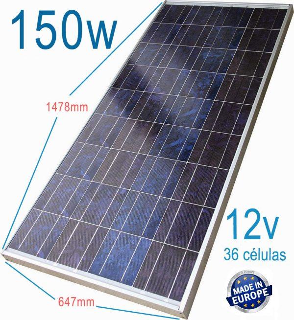 Placa solar policristalina 150 W caravana autocara